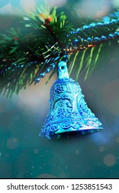 blue bells christmas decoration hanging on tree