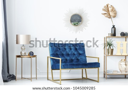 Blue Bench Between Gold Table Lamp Stock Photo Edit Now 1045009285