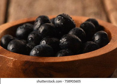 Blue Berries in a wood bowl