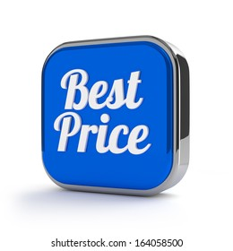 Blue best price button with metallic border
