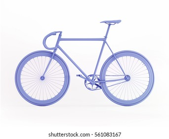 Blue bicycle 3D rendering isolated on white