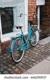 Blue bicycle on streets of Copenhagen