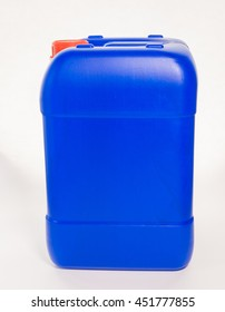 Blue big plastic canister, container; isolated on white background