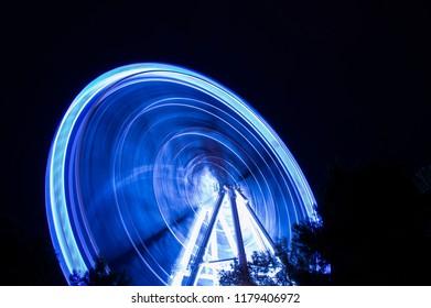 Blue big wheel in Zaragoza, Spain
