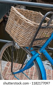 Blue bike with basket in the Netherlands