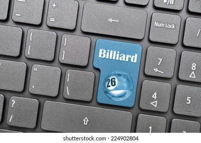Blue billiard on keyboard