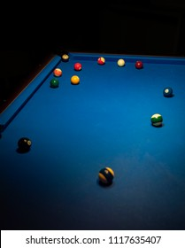 Blue billiard table and billiard balls