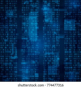 Blue binary computer code. Random binary numbers. background illustration