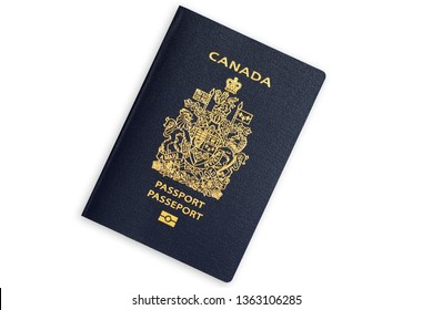 Blue biometric passport of Canada isolated on white background