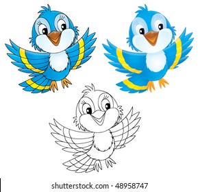 Blue bird (black-and-white and color illustrations)