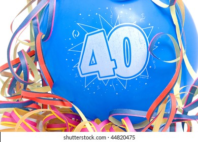 Blue birthday balloon for someone who is 40 years old with party streamers over white background
