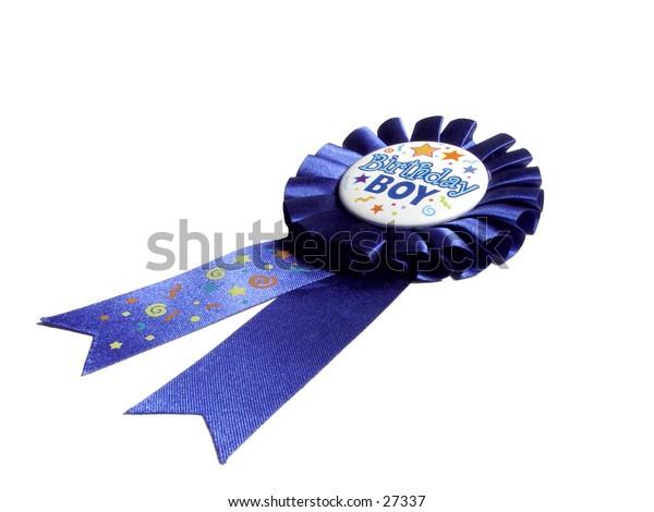 Blue Birthday Boy Ribbon isolated on white background