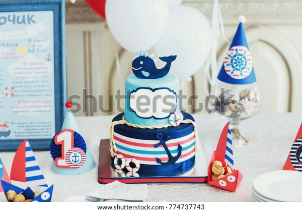 Swell Blue Birthday Cake Decorated Wale Anchor Stock Photo Edit Now Funny Birthday Cards Online Alyptdamsfinfo