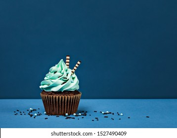 Blue Birthday Cupcake with chocolate sprinkles against a blue background.