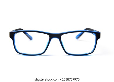 Blue and black color plastic frame rim for children's glasses. Image for the design of optics store and shop, eye clinic. Glasses for reading and distance, correction of sight.