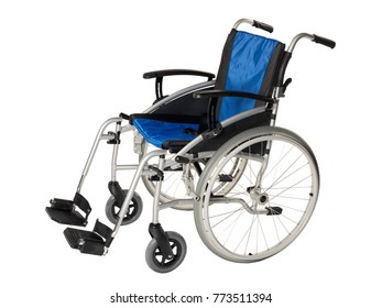 Blue and black foldable lightweight wheelchair on white background.