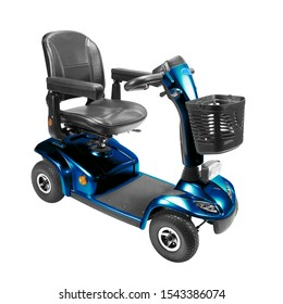 Blue and Black Four Wheel Mobility Scooter with Front Basket Isolated on White Background. Modern Mobility Aid Vehicle. Personal Transport Side View. Electric Wheelchair with Step Through Frame