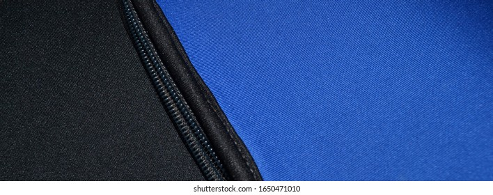 blue and black neoprene fabric with zip