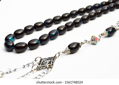 Blue black and silver beads sequenced, short rosary, tespih tesbih