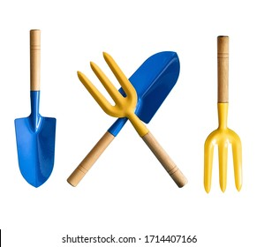 Blue blade and a yellow fork isolated on white background. Garden tool.