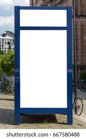 A blue blank ad space sign isolated in the street