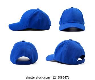 blue blank cap isolated on white background