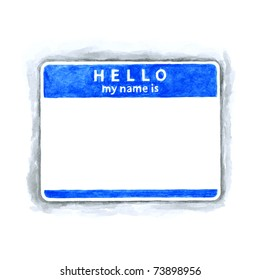 Blue blank HELLO my name is tag sticker with shadow on white background. Handmade watercolor technique