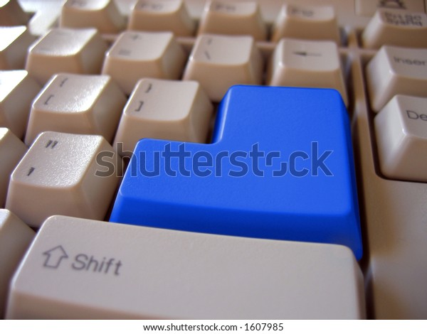 blue blank keyboard button