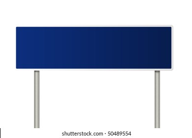 A blue blank road sign with room for your copy