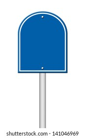 blue blank sign on white background