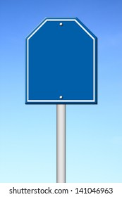 blue blank sign with blue sky