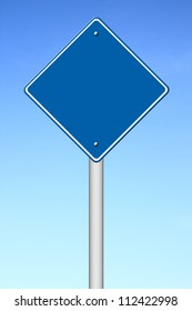 blue blank sign with sky background