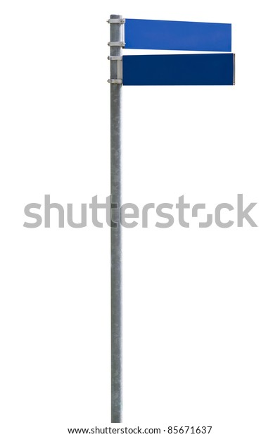 Blue blank street sign isolated on white, clipping path included