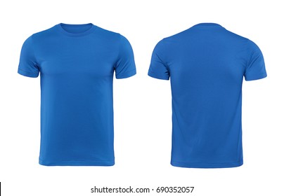 Blue blank t shirt template isolated on white with clipping path.