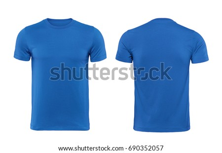blue blank t shirt template isolated の写真素材 今すぐ編集