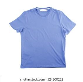 Blue blank t-shirt on white background