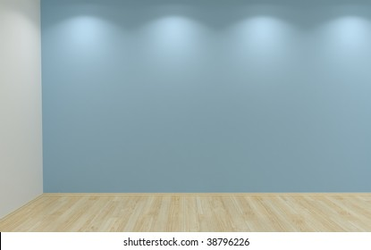 blue blank wall with four lamps and hardwood parquet