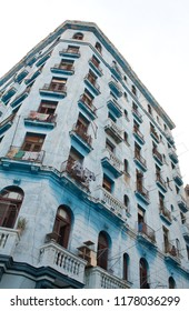 A blue block of flats in Central Havana, Cuba.