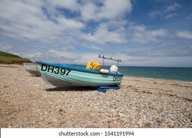 Blue boat on the beach at Hallsands, Devon