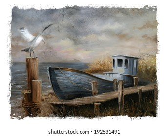 Blue boat seagull Torn Edges