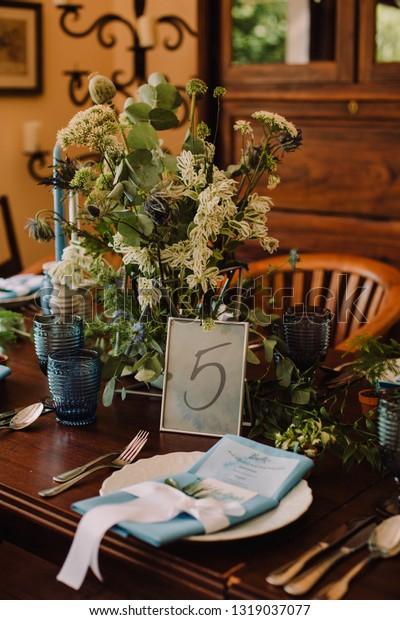 Boho Wedding Decor.Blue Boho Wedding Decor Stock Photo Edit Now 1319037077
