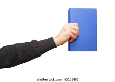 a blue book in hand on white background