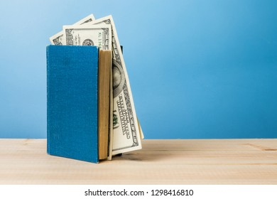 Blue book and money, information and knowledge for money concept