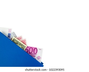 Blue book with nested international banknotes, isolated on white background. Stash of money concept, Business ideas, Clipping path.