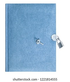Blue book with padlock and key isolated on white background. Recycled paper