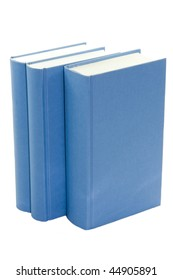 blue books standing isolated on white background