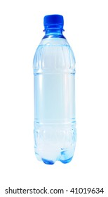 Blue bottle of mineral water on a white background.
