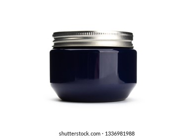 Blue bottle with silver cap isolated on white background