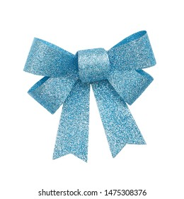 Blue bow covered with glitter isolated on white background, cut out baby blue tied shiny silk ribbon