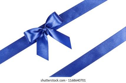 Blue bow, ribbon. Isolated on white background.